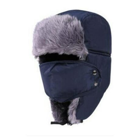 Trapper Hat Fashion Windproof Warm Earflap Face Mask Trooper Hat Winter Hat for Women & Men - Mets Winter Hat