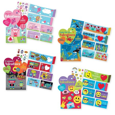 Valentine For Kids (Kids Valentine's School Value Pack Cards (128 Valentine Cards Total). Perfect for)