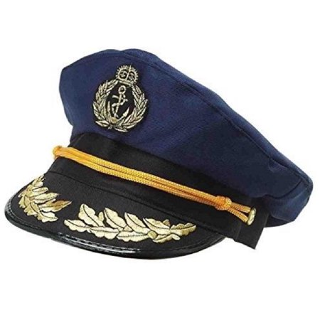 4b2ec6e3aea Nicky Bigs Novelties - Navy Blue Yacht Captains Skipper Hat Ship Captain Cap  Costume Sailor Boat Ship - Walmart.com