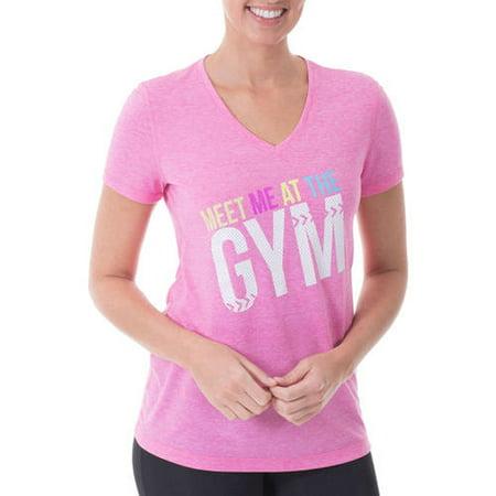 cd3d02821 Danskin Now - Women's Active Fitspiration V-Neck Graphic T-Shirt -  Walmart.com