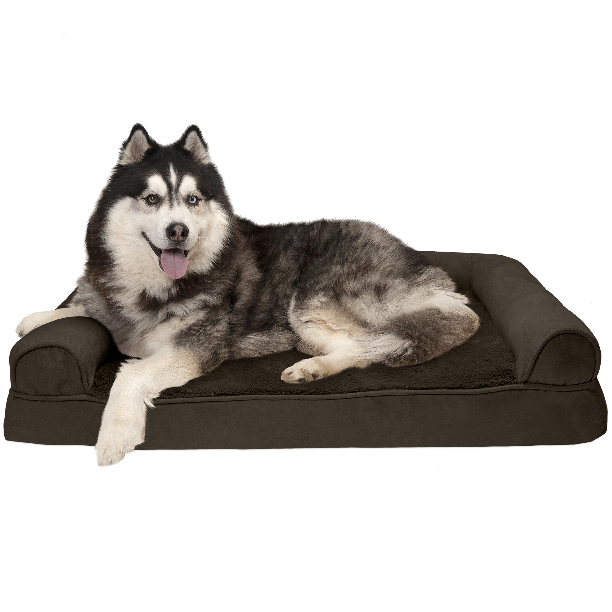 FurHaven Pet Dog Bed | Memory Foam Plush & Suede Couch Sofa-Style Pet Bed for Dogs & Cats, Espresso, Jumbo
