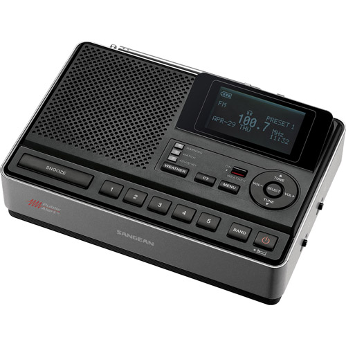 Sangean S.A.M.E. Weather Hazard Alert Radio with Emergency Preparedness AM/FM Tuner, Black