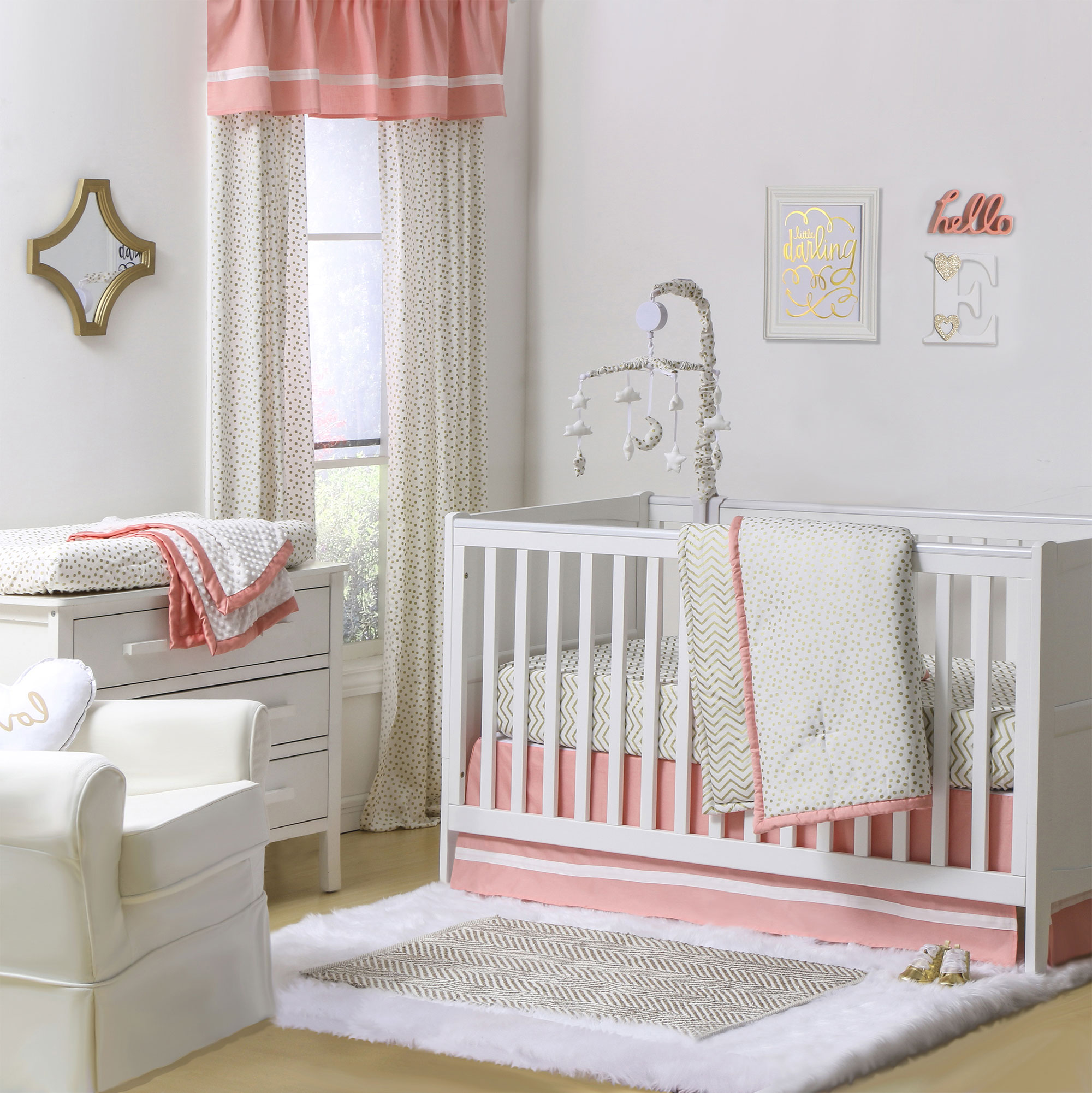 The Peanut Shell 4 Piece Baby Girl Crib Bedding Set - Gold Zig Zag and Confetti Dots with Coral Trim - 100% Cotton Quilt, Dust Ruffle, Fitted Sheet, and Mobile