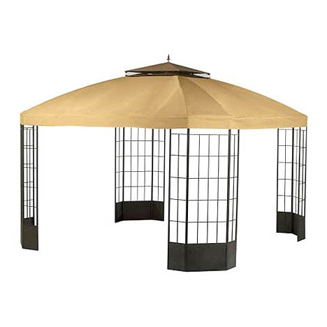 Garden Winds LCM439BREV-RS Sears Bay Window Gazebo RipLock 350 Replacement Canopy and Netting Beige