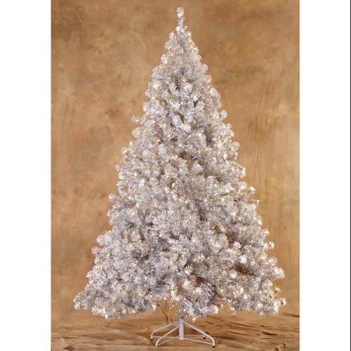 7.5' Pre-Lit Silver Laser Tinsel Artificial Christmas Tree - Clear Lights