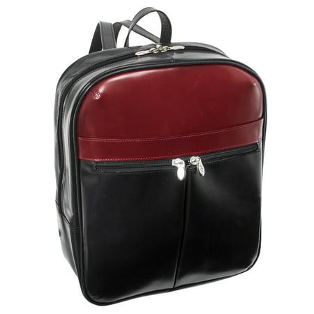 McKlein EDISON, Laptop Slim Backpack, Top Grain Cowhide Leather, Blk/Red