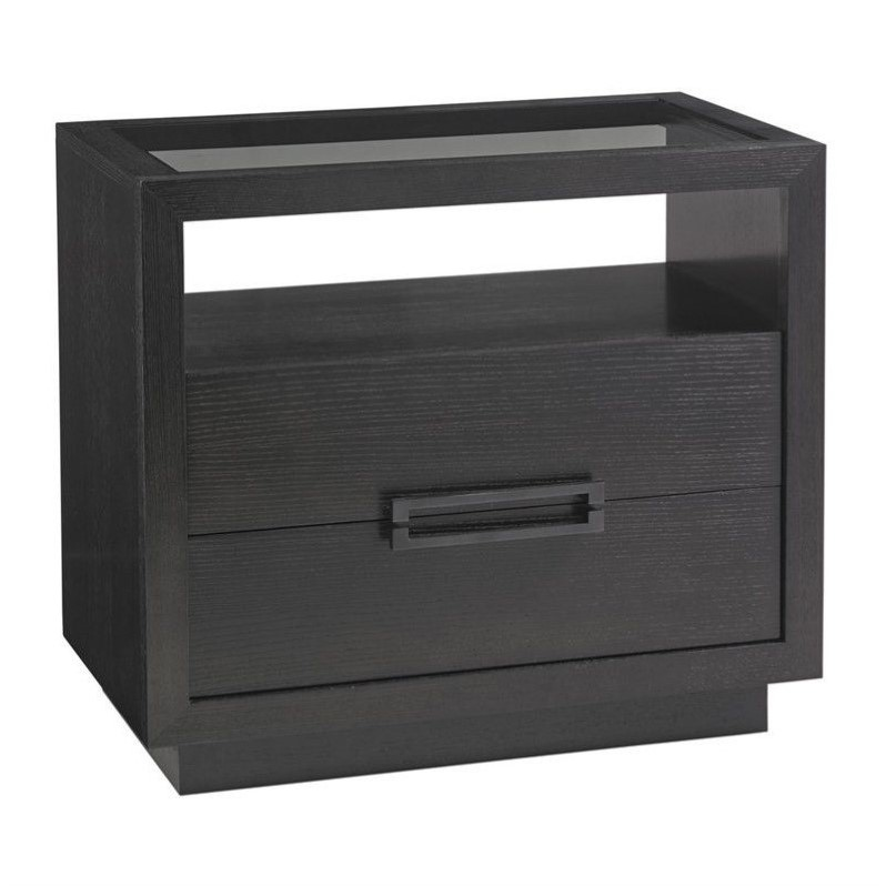 Beaumont Lane 2 Drawer Glass Top Nightstand in Carbon Gray