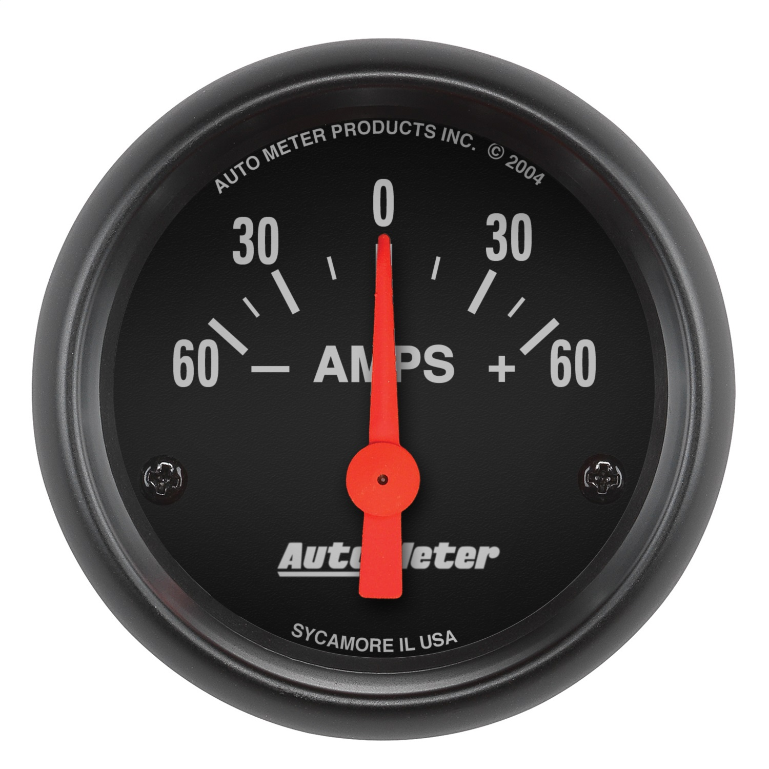 AutoMeter 2644 Z-Series Electric Ammeter Gauge; 2-1/16 in.; Black Dial Face; Fluorescent Red Pointer; White Incandescent Lighting; Electric Air-Core; 60-0-60 AMPS;