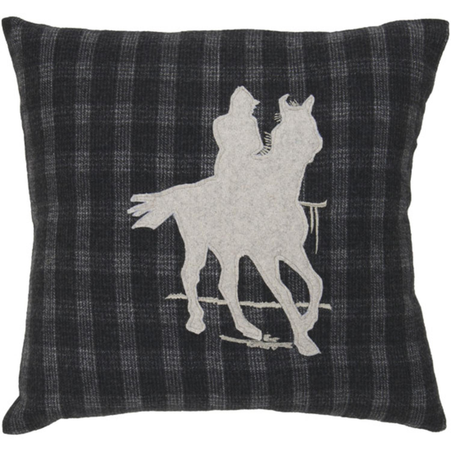 """22"""" Country Horse and Cowboy Silhouette on Plaid Decorative Throw Pillow"""