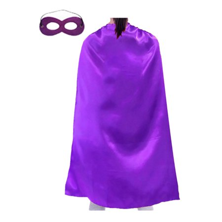 Opromo Superhero Capes And Masks Set, Halloween Costumes And Dress Up For Kids & Adults-Purple-19 2/3