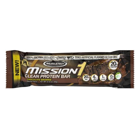 MuscleTech Mission 1 Clean Protein Bar Chocolate Brownie, 2.12 OZ