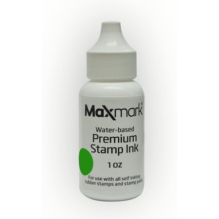 MaxMark Premium Refill Ink for self inking stamps and stamp pads - 1 oz. (Green)