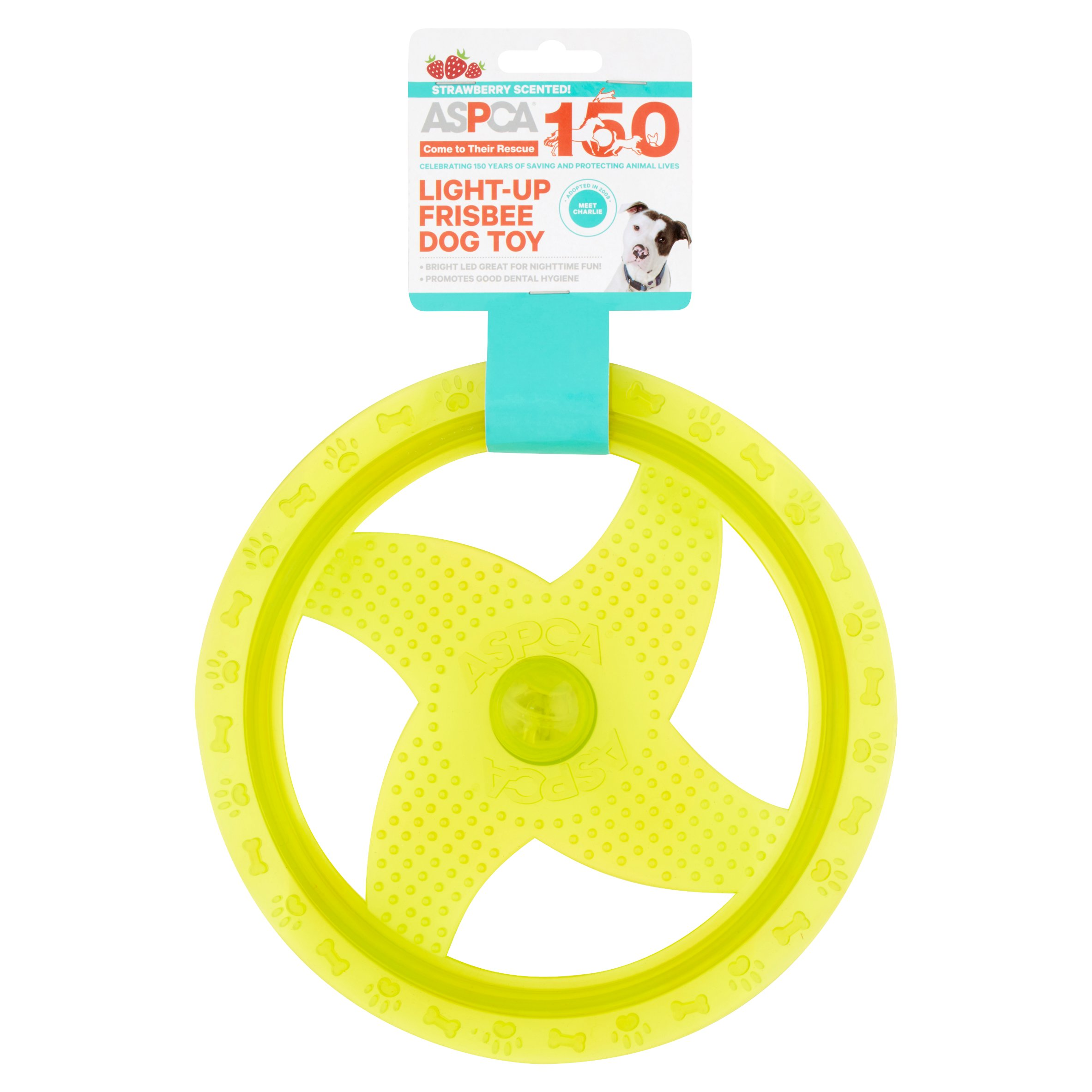 ASPCA Strawberry Scented! Blue Light-Up Frisbee Dog Toy