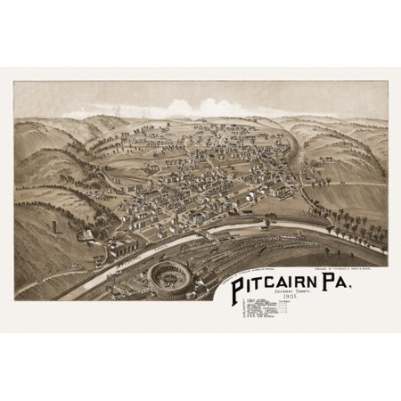 Vintage Map Of Pitcairn Pennsylvania 1901 Allegheny County Canvas Art     36 X 54