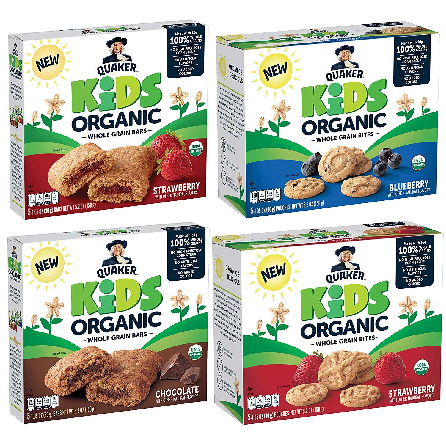 Quaker Kids Organic Whole Grain Bars & Bites Sampler Pack, 1.05 oz Bars & Pouches, 20 Count