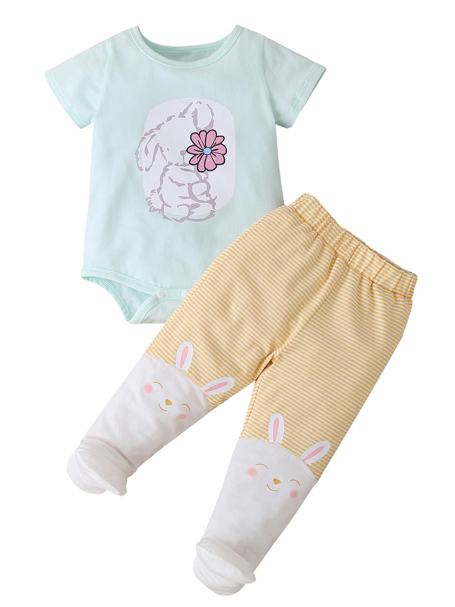 Details about  /2Pcs Toddler Newborn Infant Baby Boy Girl Romper Jumpsuit Tops Pants Outfits Set