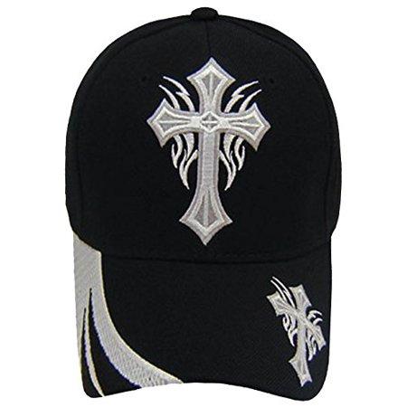Iron Cross Hat Cap - Christian Hat Religious Cross Black and White Baseball Cap Mens Womens