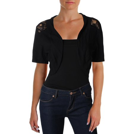 City Chic Womens Plus Lace Short Sleeves Shrug Sweater