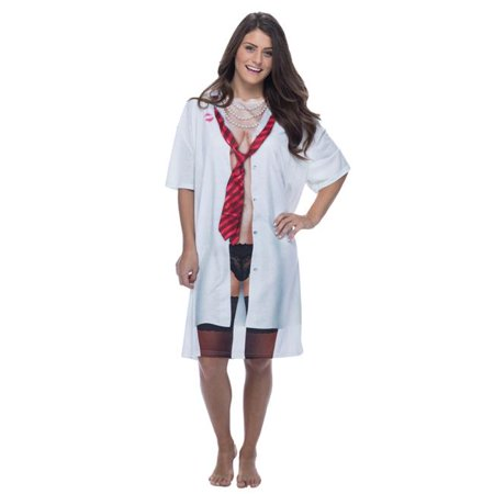 Womens Big & Tall Boyfriend Nightshirt Dress, Multicolor - OSFM (Tall And Short Halloween Costumes)
