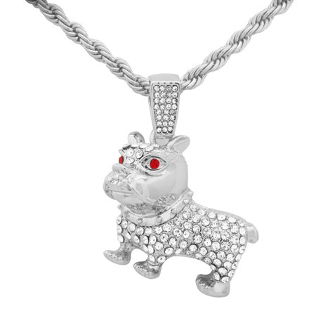 14K White Gold Plated Iced Out Hip Hop BullDog Dog Pendant With 24