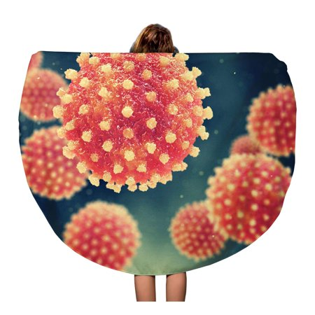 LADDKA 60 inch Round Beach Towel Blanket Microscopic Viral Hepatitis Infection Causing Chronic Liver Disease Viruses Travel Circle Circular Towels Mat Tapestry Beach Throw