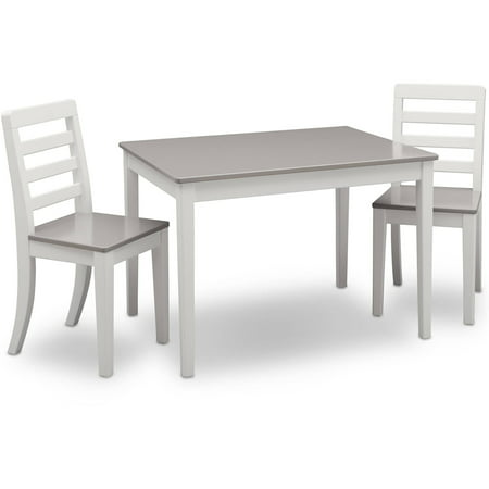 Delta Children Gateway Table and 2 Chairs Set, White & Grey ...