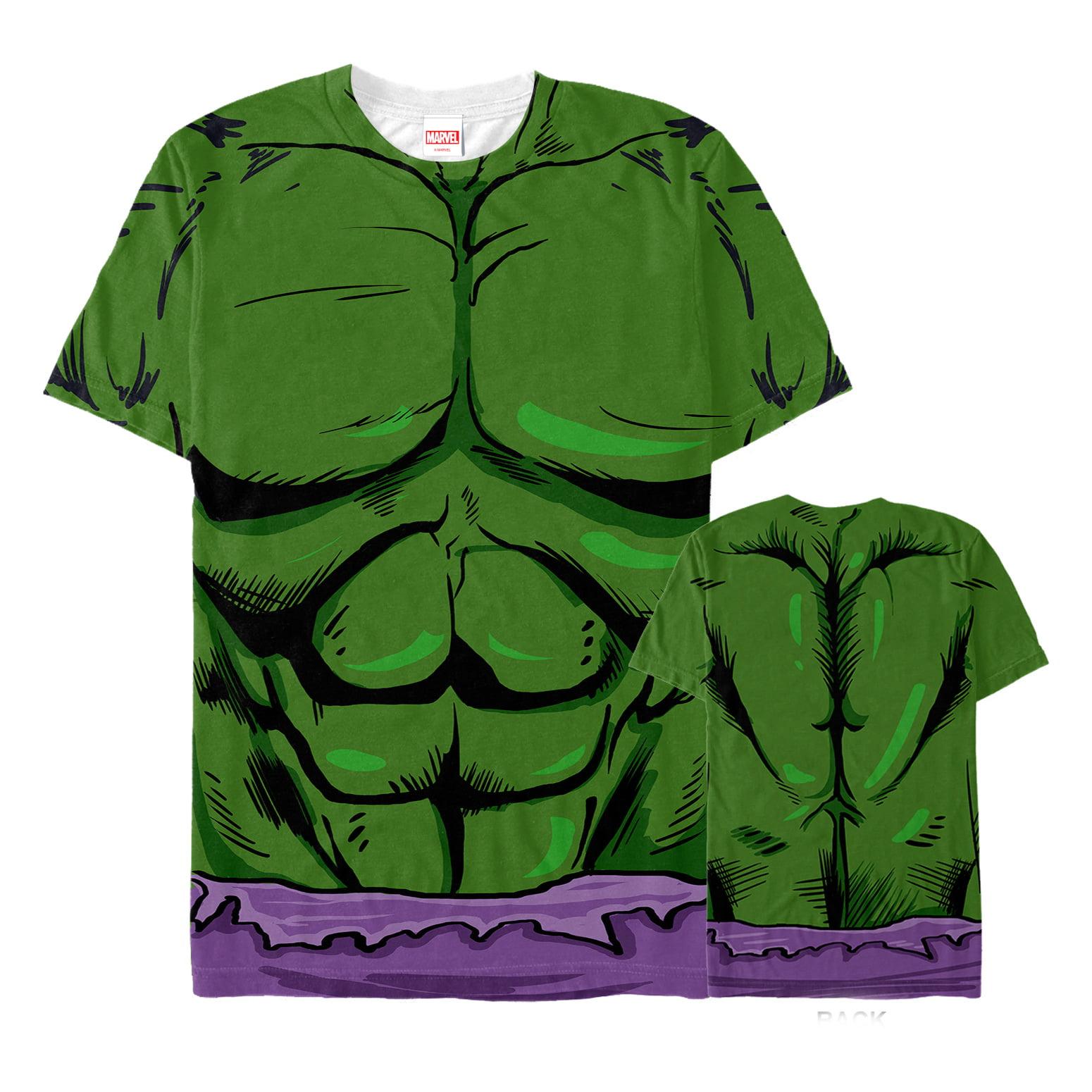 Marvel Men S Marvel Hulk Muscle Costume All Over T Shirt Walmart Com Walmart Com