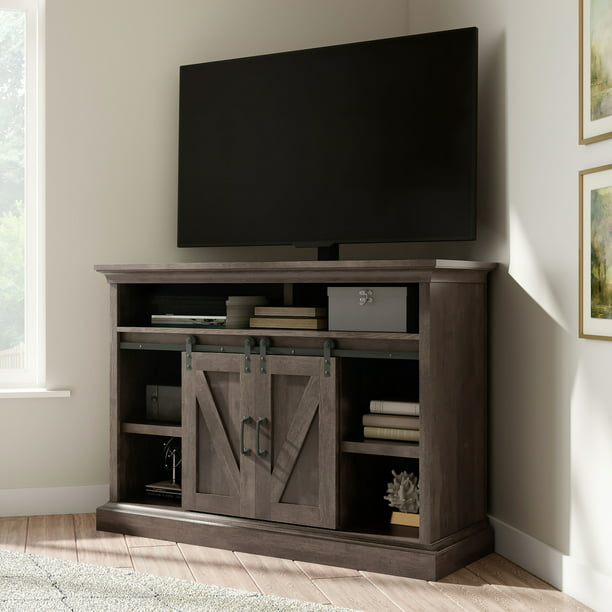 "Whalen Allston Barn Door Corner TV Stand for 55"" TVs, Brown Finish"