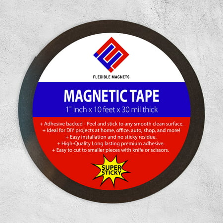 Adhesive Magnet Tape - Adhesive Magnetic Strip - Flexible Magnet Tape, - 1