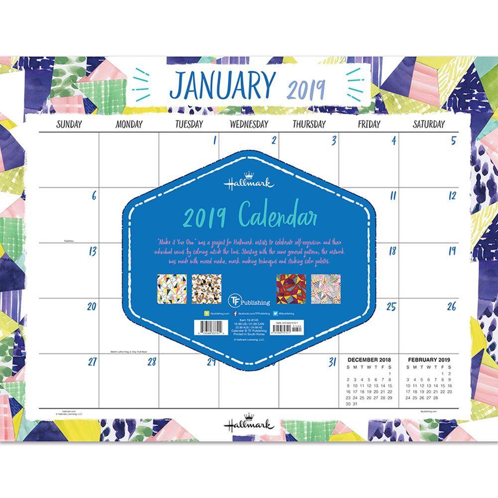 "2019 Art of Hallmark 22"" x 17"" January 2019-December 2019 Desk Pad Calendar"