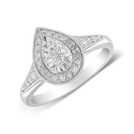 10K White Gold 1/2 CTTW Pear Cut Diamond Engagement Ring