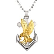 """Brilliance Fine Jewerly Men's Stainless Steel IP Plated Eagle On Anchor Cross Pendant Necklace, 22"""" Chain"""