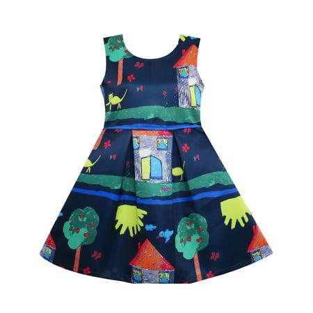 Girls Coat Dress (Girls Dress Tree House Cat Butterfly Bird Flower Print)