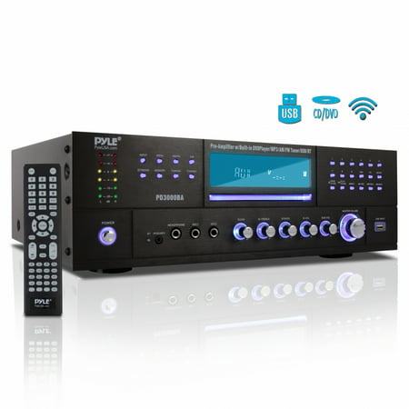 PYLE PD3000BA - Bluetooth Home Theater Preamplifier - Audio/Video Receiver System with CD/DVD Player, AM/FM Radio, MP3/USB Reader (3000 Watt) ()