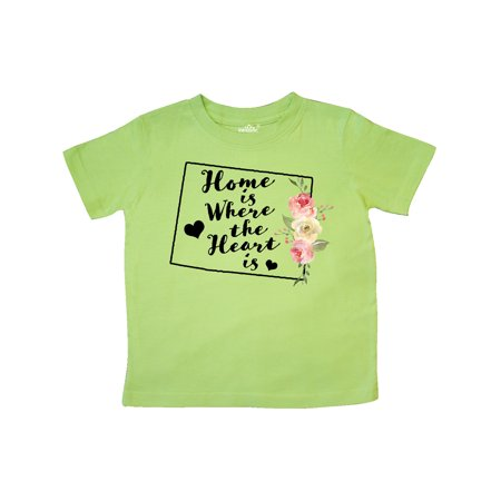 Wyoming Home is Where The Heart is with Watercolor Floral Toddler T-Shirt