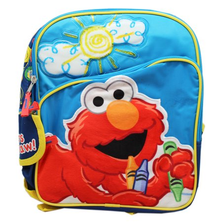 Sesame Street Coloring Elmo Fuzzy Patch Blue Colored Small Backpack - Coloring Backpack