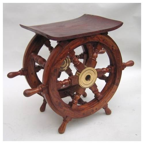 18 in. Teak Ship Wheel Table