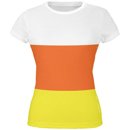 Halloween Candy Corn Costume All Over Juniors T-Shirt - Candy Corn Costume Adult