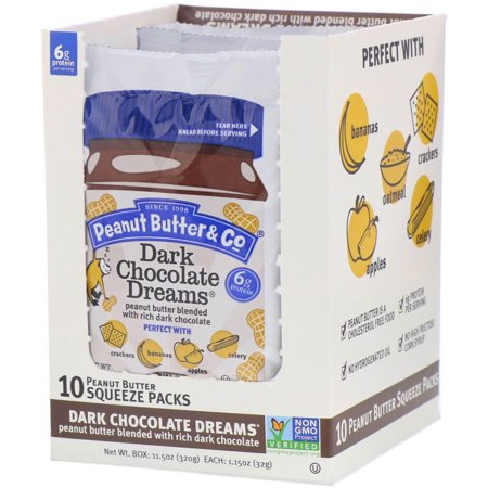 Peanut Butter   Co   Squeeze Packs  Dark Chocolate Dreams Peanut Butter  10 Per Box  1 15 oz  32 g