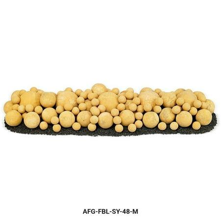 "48"" x 14"" Sundance Yellow Mixed Set, 5-6"" Lite Stone Balls, 30-4"" Lite Stone Balls, 94-2"" Lite Stone Balls with 35lbs Small Lava Rock-Color:Yellow,Size:48 inch"