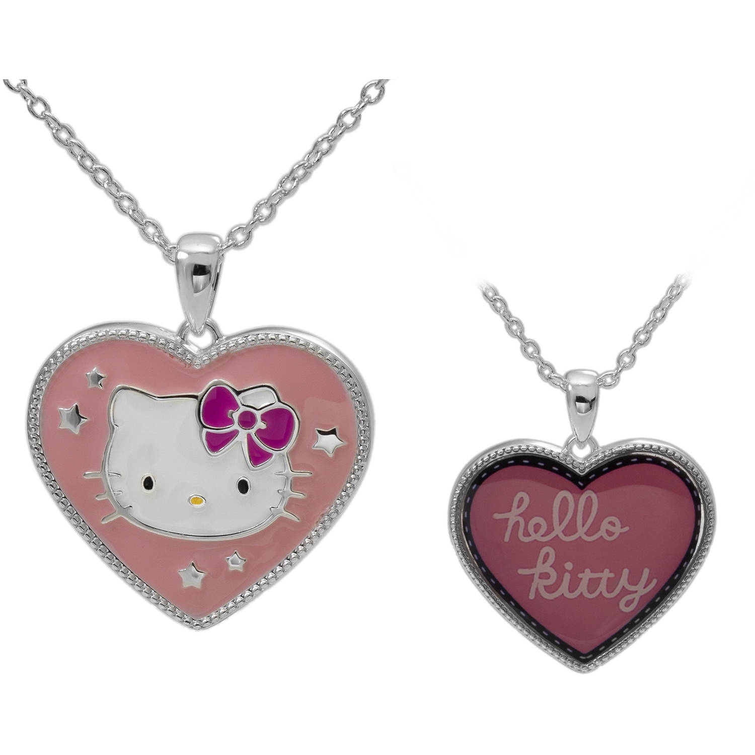 "Hello Kitty Silver-Plated Reversible Pendant, 18"" chain"
