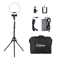 WALFRONT Professional Studio Photography LED Ring Light & 2m Light Stands Set Dual Color Temperature LED Ring Lamp