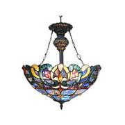 "CHLOE Lighting NORA Tiffany Style Victorian 2 Light Inverted Ceiling Pendant 18"" Shade"