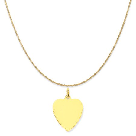 14k Yellow Gold Etched .013 Gauge Engravable Heart Disc Charm on 14K Yellow Gold Rope Necklace, 18
