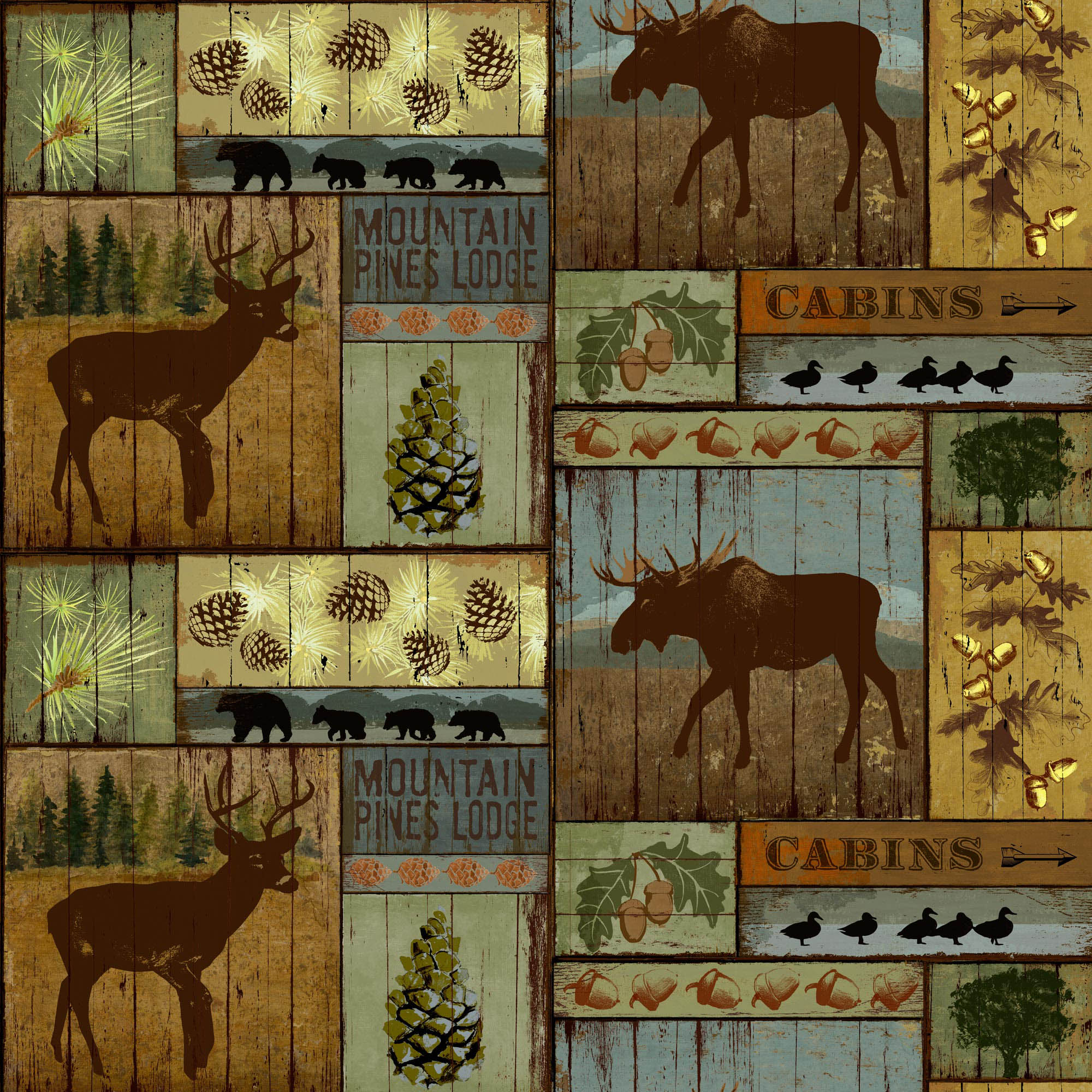 David Textiles Anti-Pill Fleece Mountain Pines & Lodge Fabric By The Yard 60""