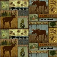 "David Textiles Mountain Pines and Lodge Anti-Pill Fleece 60"" Fabric"