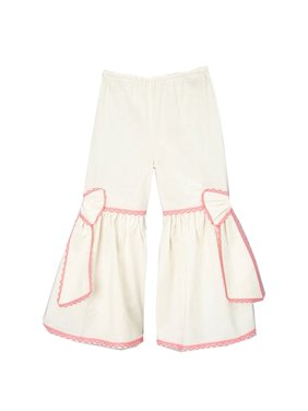 Little Girls Ivory Fuchsia Scalloped Lace Trim Bow Accent Flare Pants 12M-6