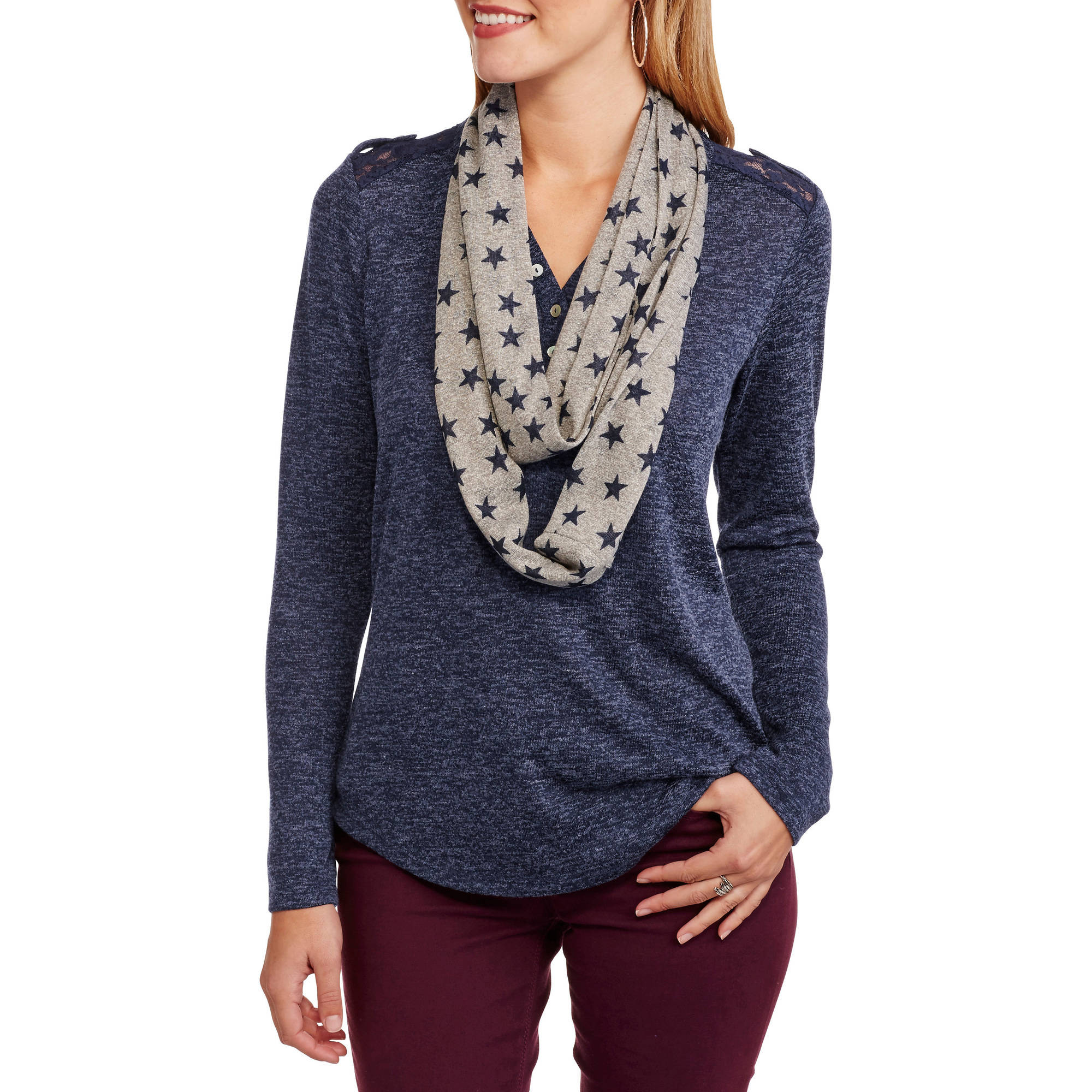 No Boundaries Juniors'' Lace Yoke Long Sleeve Henley Top & Scarf 2fer