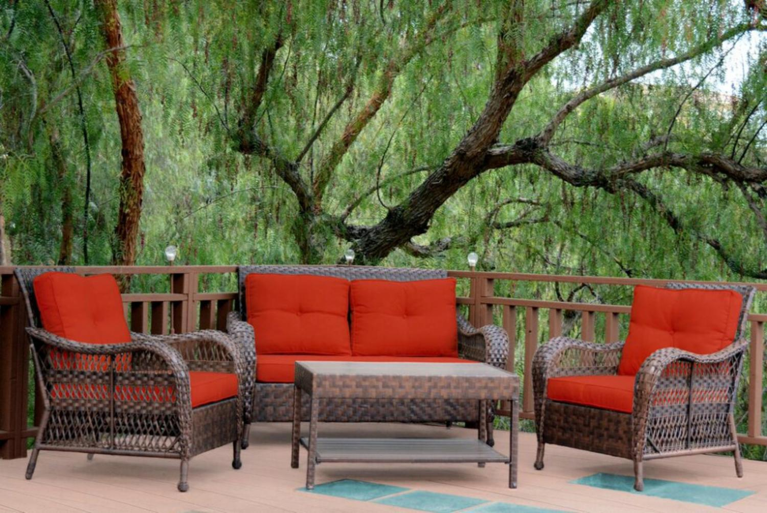 Marvelous 4 Piece Espresso Resin Wicker Outdoor Patio Conversation Furniture Set    Red Cushions