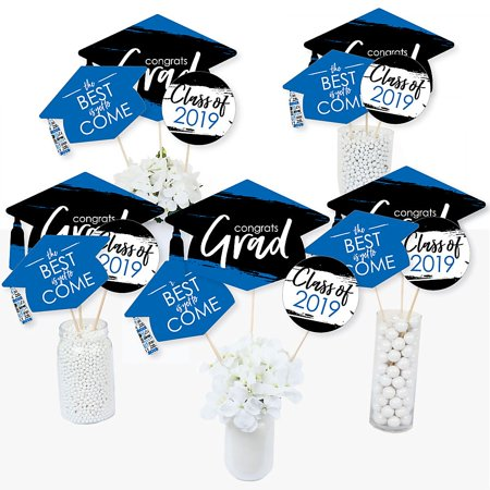 Blue Grad - Best is Yet to Come - 2019 Royal Blue Graduation Party Centerpiece Sticks - Table Toppers - Set of 15